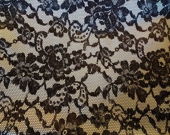 PUL fabric, diaper fabric, polyurethane laminate fabric,  PUL fabric black floral lace print, 1 yard.