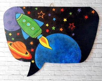 Space Nursery Decor - Playroom Sign - Rocket Ship Decor - Boys Room Sign - Galaxy Decor - Personalized Gift - Custom Message - ArtFly