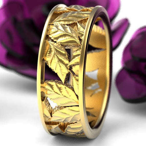 Leaf Ring Wedding Band Custom Made With Cherry Tree Leaves in 10K 14K 18K Gold, Palladium or Platinum Made in Your Size 5103