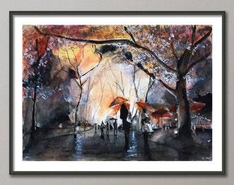 Autumn rain Paris Painting, Watercolor, Poster France, Giclee print , Modern wall art