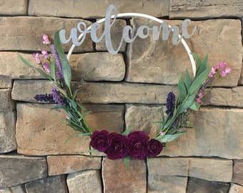 Welcome modern hoop wreath, door hanging, entryway decor
