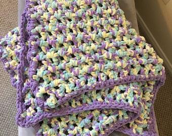 Crocheted multi-color baby girl blanket