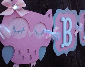 Owl Baby Shower Banner, It's A Girl banner, Baby shower decorations, Owl banner,  Owl Decorations. Girl baby shower. Baby Girl Banner.
