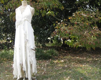 White Leather Wedding Dress Native American Inspired Boho Wedding dress Western Wedding Dress, Custom made to order, one of a kind