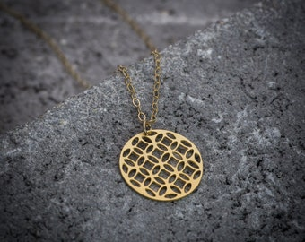 Gold coin necklace circle necklace Celtic necklace coin necklace minimalist necklace sacred geometry tree of life pendant coin pendant
