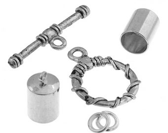Kumihimo Jewelry Finding Kit Silver 7mm End Cap/Jump Ring/Toggle