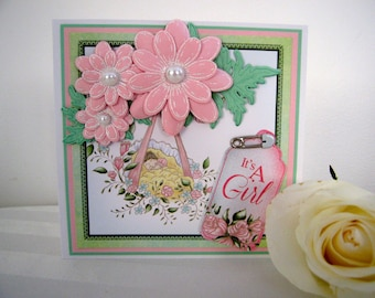 Handmade greeting cards,baby card,3-D card,special card,unique card,baby girl card,daisy card,safety pin card,pearls,layered,shaped,cute