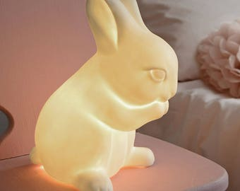 Porcelain Rabbit Lamp for Baby Nursery and Children's Rooms