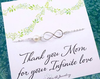Wedding Gift for Mom, Infinity BRACELET, Mother of groom gift, mother of the bride gift, mother in law gift, Otis B, wedding jewelry