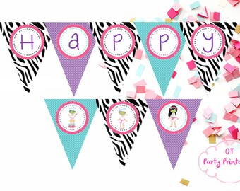 Spa Party Birthday Banner - Spa Printables - Spa Party Theme - DIY - Spa Party Decor - Zebra Spa Party - Spa Birthday Party