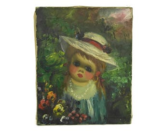 Vintage Big Eye Girl Portrait. Original Art on Canvas. Small Child and Flower Oil Painting by Marini. Kids Room Decor.