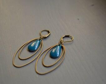 dangle drop earrings peacock blue - 2 rings oval bronze