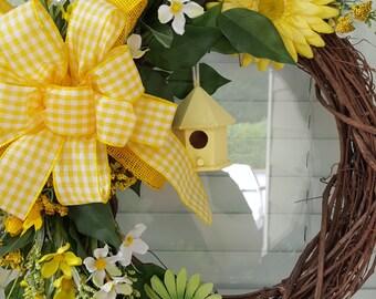 Floral Birdhouse Grapevine Wreath, Spring Wreath, Springtime Wreath