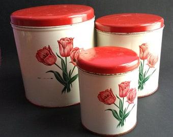 Vintage Red Tulips Decoware Canister Set, Vintage metal canisters , Decoware metal tin canisters, Farmhouse decor - B4