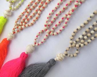 Neon Beaded Tassel Necklace