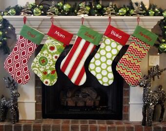 Personalized Christmas Stockings. Extra Large XL Giant Huge Christmas Stockings! Pick colors, fabrics, font, embroidery monogram on stocking