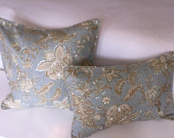 Decorative Corded Pillow Cover - Soft Blue and Tan Floral