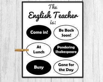 Gift for English Teacher Digital Download Gift for English Teacher Gift for High School Teacher Printable Door Sign Funny Teacher Gift