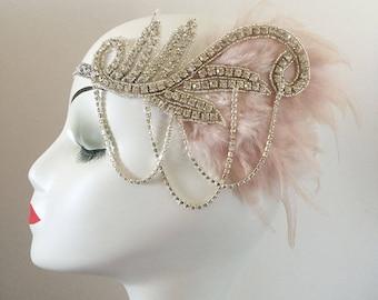 Dusty Pink Feather Fascinator Hair Clip Headband Gatsby Party Wedding Head Dress