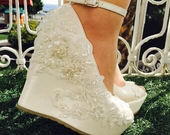Wedding , Wedding Shoes, Bridal Shoes, Ivory Wedding Shoes, Ivory Wedges, Bridal Wedges,