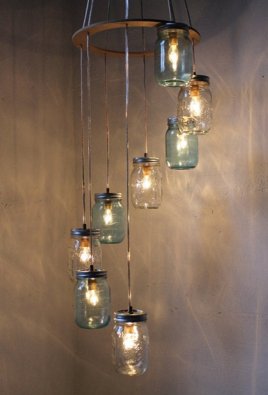 Waterfall Splash Mason Jar Chandelier, Handcrafted Hanging Spiral Lighting Fixture, Blue & Clear Jars, BootsNGus Lighting and Home Decor