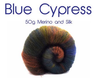 Spinning batts - Merino - Silk - Green - Olive - Blue 50g / 1.75 oz  BLUE CYPRESS