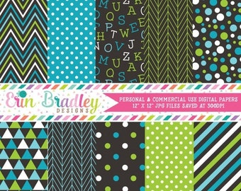 80% OFF SALE Blue Green Digital Scrapbook Paper Pack with Alphabet Pattern Chevron Stripes Polka Dots Triangles & Herringbone Commercial Use