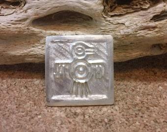 Stylized Thunderbird Totem Pendant Solid Fine Silver Native American Petroglyph
