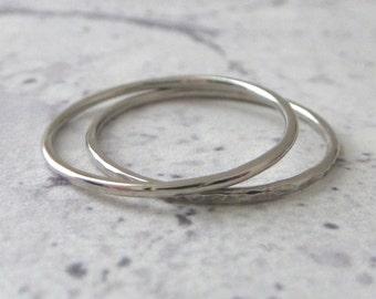 Palladium Band Ring - Skinny - Hammered or Smooth - 1mm