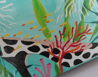 Whimsical Art Original Acrylic 5 X 7 x1.5 Painting Fashion Shoe Underwater Fish Painting Funky Art Colorful Painting Bathroom Art