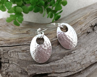 TEXTURED OVAL Spoon EARRINGS, sterling silver drop earrings, rolling mill texture, up-cycled  from vintage spoon.