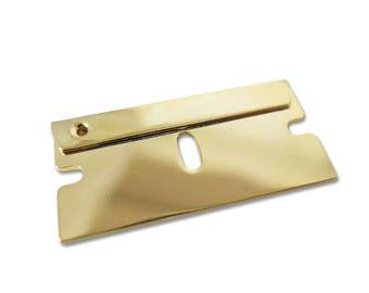 Gold Plated Razor Blade Engraving Pendants (1X) (M760-C)