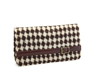 Vintage Brown Leather Wallet, Wool Wallet, Ladies Wallet, Change Purse, Coin Purse