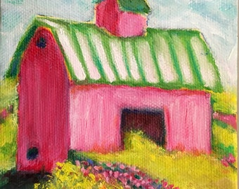 Strawberry Barn, Oil, 4x4""