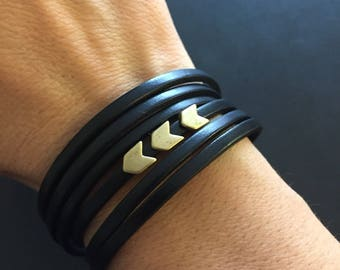 Leather wrap bracelet - chevron arrow charms - Available in black, tan, teal or pink leather with antique gold, silver or copper charms