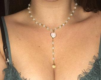 Light gray beaded lariat necklace
