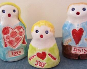 LOVE FAMILY Set of Three GOLEMS One of a Kind Figurines Judaica Handmade in Israel Israel Hanukkah Gift Good Luck Protectors
