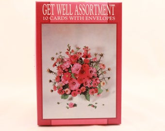 New! Vintage Boxed Get Well Assortment Cards. 10 Cards with Envelopes.