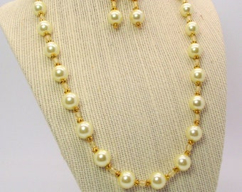 Lemonade Yellow Pearl and Crystal Necklace and Earring Set – Yellow Necklace and Earrings