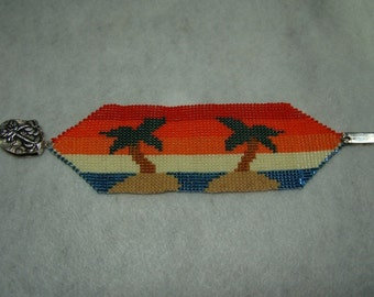 Palm Trees Loom or 1 Drop Even Peyote Cuff Bracelet Bead Pattern