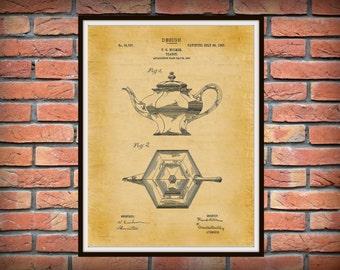 Patent 1907 Tea Pot - Coffee Pot - Wall Art Print - Kitchen Art- Poster - Restaurant Wall Art - Housewares - Coffee Shop Wall Art -