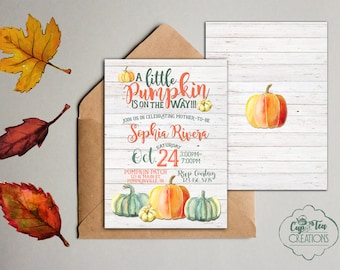 Pumpkin Shower Invitation, Little Pumpkin Baby Shower Invitation, Fall Baby Shower Invitation, Pumpkin Invitation, Pumpkin Baby Shower