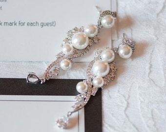 Chandelier Pearl Earrings, Victorian Wedding Earrings, Crystal and Pearl Bridal Earrings, TILLY