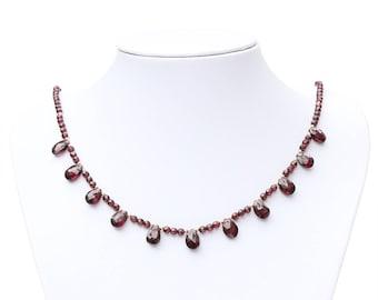 Garnet gemstone necklace.