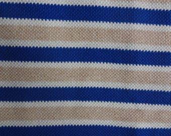 Blue Tan Ivory Stripe Purl Knit Fabric, Medium Weight Knit Fabric, Stretch Purl Knit Fabric, 1 Yard