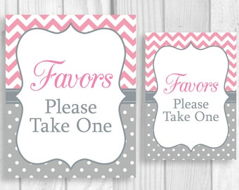 Favors Please Take One 5x7 or 8x10 Printable Baby Shower Sign in Pink Chevron and Gray Polka Dots - Instant Download