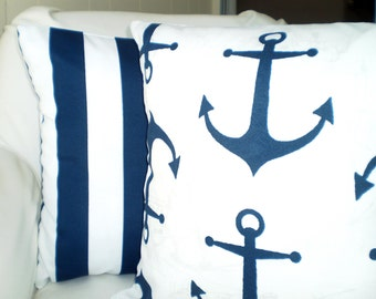 OUTDOOR Navy Blue Pillow Covers, Nautical Decorative Throw Pillows Cushion Covers Navy Blue White Indoor Outdoor, Set of Two Various Sizes
