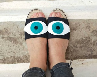 Espadrilles Sandals, Slide Shoes, Evil Eye Open Toe Shoes, Flat Summer Shoes for Women. Handmade Greek Sandals, Gift for Her