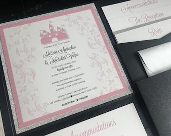 Fairytale Custom Pocket Wedding Invitation Suite | Custom Wedding Announcements | Blush | Glitter | Silver | Black |  Castle | Storybook