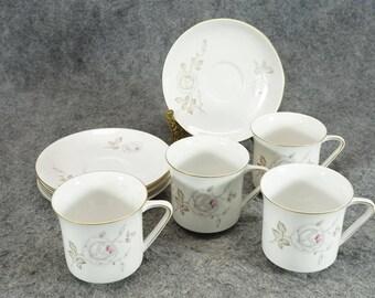 Johann Haviland Dawn Rose Pattern Cups & Saucers Set Of 4 C. 1960s